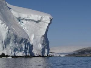 Mouillage à coté d'une falaise de glace de 80 m ... Pitt Islands - Antarctique