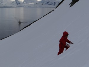 Anaa, petite alpiniste en herbe - Cuverville Island, Antarctique